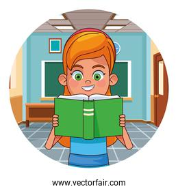 Kid reading book in classroom