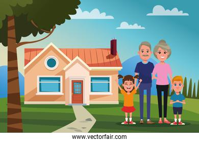 Family outdoors from home cartoon