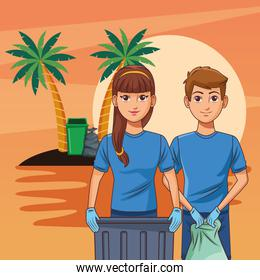 Teenagers cleaning beach