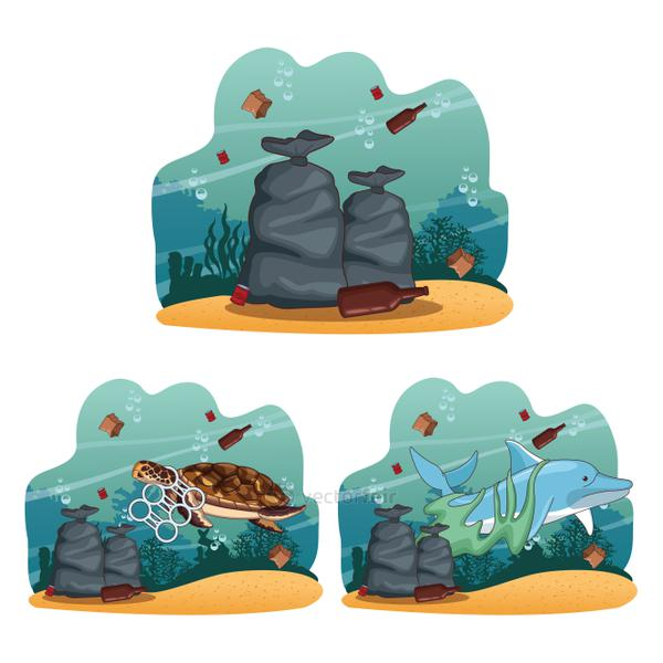Sea cleaning cartoons collection