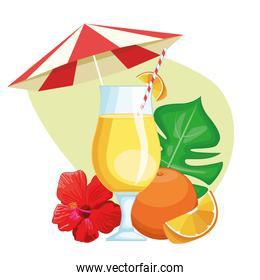 tropical drink with umbrella