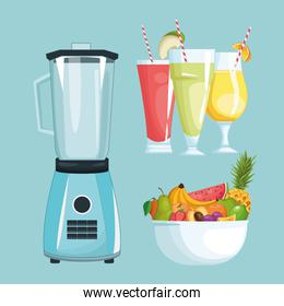 smoothies with fruit bowl and mixer