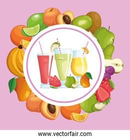 smoothies with fruit round frame