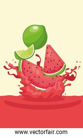 lemon and watermelon falling for smoothie
