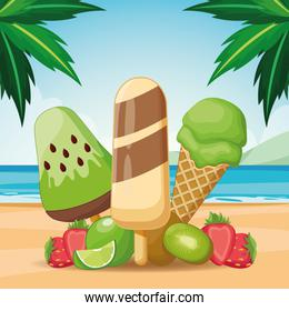 ice lolly and ice cream with fruit