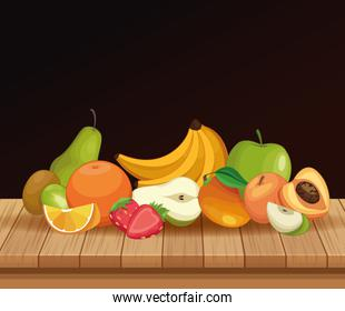 Delicious fruits on table