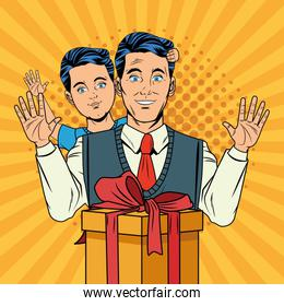 Pop art father and son with gift box cartoon