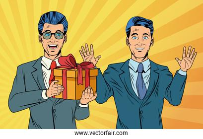 Pop art businessmen with giftbox cartoons