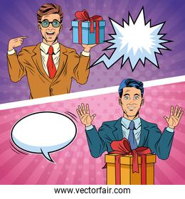 Pop art businessmen with gift boxes cartoon