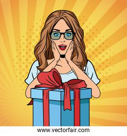 pop art woman birthday cartoon