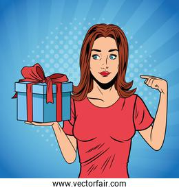 pop art woman birthday giftbox cartoon