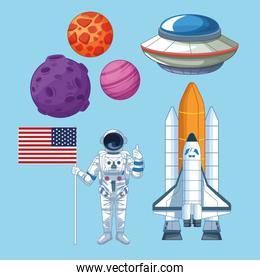Space and astronaut set of icons