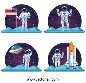 Astronaut and galaxy set of scenes