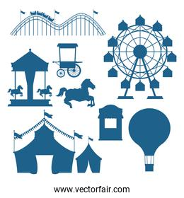 Circus and festival set of blue silhouettes cartoons