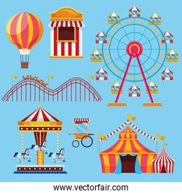 Circus and festival set of icons cartoons