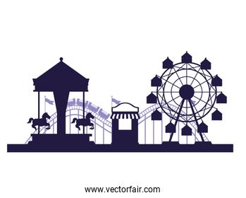 Circus festival fair scenery blue and white colors