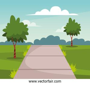 Nature park with trees and path scenery cartoon