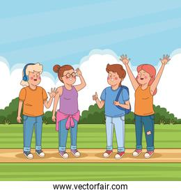 Teenagers friends in the park cartoons