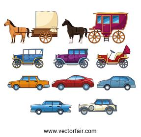 Vintages classec and modern cars with horse carriages