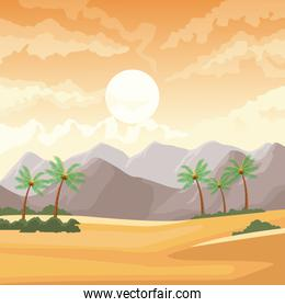 Desertscape scenery with palms and mountains