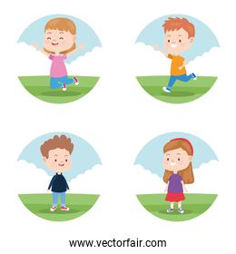 Kids playing in the park round icons