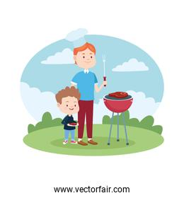 Family single father with children cartoon