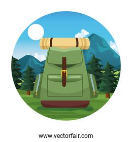Travel and adventure cartoon round icon
