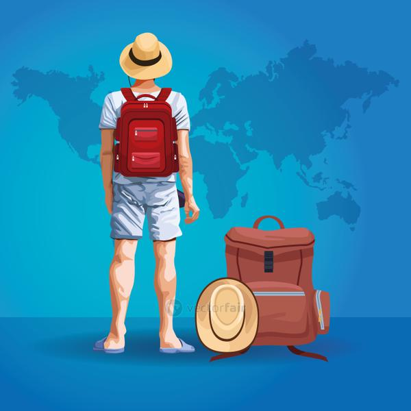 Backpack traveler tourist back cartoon