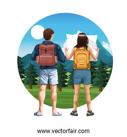 Backpack travelers young tourists cartoon