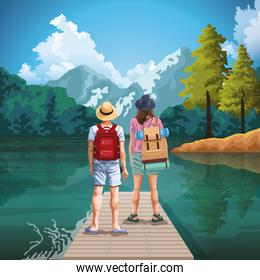 Backpack traveler couple in nature cartoons drawing art