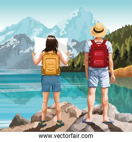 Backpack traveler in nature cartoon drawing art
