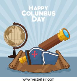 colombus columbus day card poster