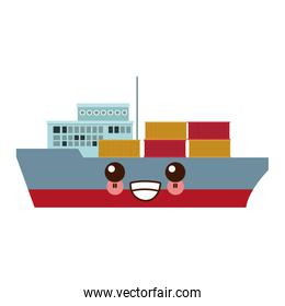 kawaii cargo ship carries steel containers for delivery