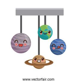 kawaii hanging earth and others planet space icon