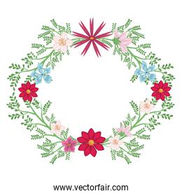 Round frame of flowers