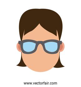 Young woman cartoon with sunglasses