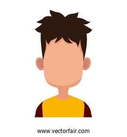 Boy faceless cartoon