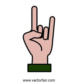 Rock and roll hand symbol