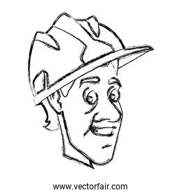 Worker face with helmet cartoon