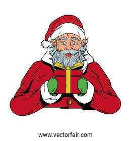 Santa claus with gift box cartoon