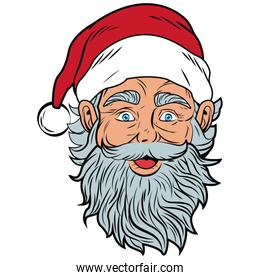 Santa claus face pop art cartoon