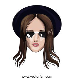 Beautiful woman face witn hat and sunglasses