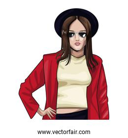 Woman with fashion clothes