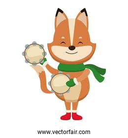 Cute fox with tambourines