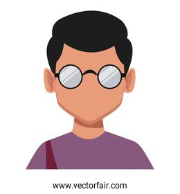 Geek man with round frame glasses
