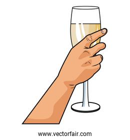 Hand with champagne cup pop art