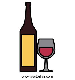 Wine cup and bottle