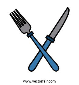 blue Fork and knife cutlery