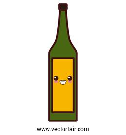 Wine glass bottle kawaii cute cartoon