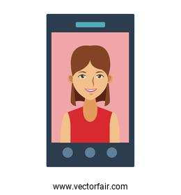 woman in Smartphone video call